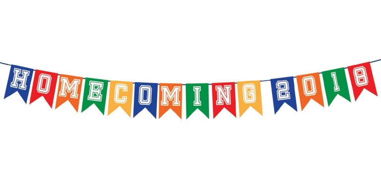 Flags that says homecoming 2018